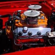 Red Car Engine  Art Print