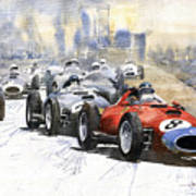 1957 Red Car Ferrari 801 German Gp 1957  Art Print