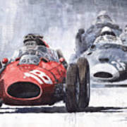 Red Car Ferrari D426 1958 Monza Phill Hill Art Print