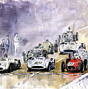 1954 Red Car Maserati 250 France Gp Art Print
