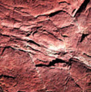 Red Colored Limestone With Grooves Art Print