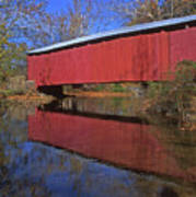 Red Covered Bridge And Reflection Art Print