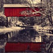 Red Covered Bridge In Winter Art Print