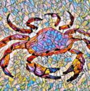 Red Crab Stained Glass Art Print