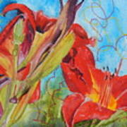 Red Day Lilies Art Print