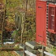 Red Door At The Grist Mill In Fall 2017  Art Print