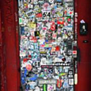 Red Doorway With Stickers Art Print