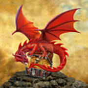 Red Dragon's Treasure Chest Art Print