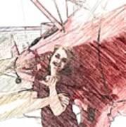 A Red Dress And A  Biplane Art Print