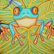 Red Eyed Tree Frog And Dragonfly Art Print