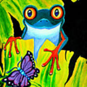 Red Eyed Tree Frog And Purple Butterfly Art Print