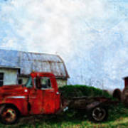 Red Farm Truck Art Print