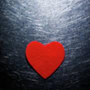 Red Felt Heart On Stainless Steel Background. Print by Ballyscanlon