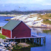 Red Fishing Shed On The Cove Art Print