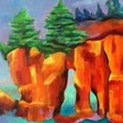 Red Fjord Art Print