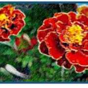 Red Flower In Autumn Art Print
