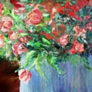 Red Flowers Blue Planter Art Print