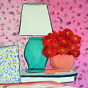 Red Flowers Pink Room Art Print