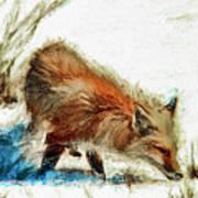 Red Fox Painted Series Art Print