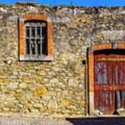Red Gate, Stone Wall Art Print