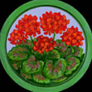 Red Geranium On Wood Art Print