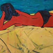 Red Girl - Yellow Bed - Imaginary Pool Art Print