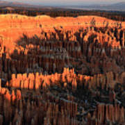 Red Glow Of The Sunrise In Bryce Canyon Art Print