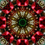 Red Gold Green Kaleidoscope 1 Art Print