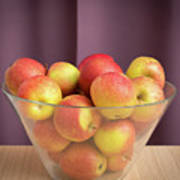 Red Green Apples In A Glass Bowl Art Print