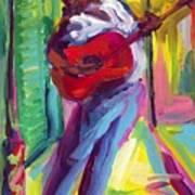 Red Guitar Art Print