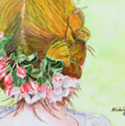 Red Hair And Apple Blossoms Art Print