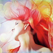 Red Hair With Bubbles Art Print