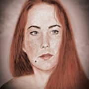 Red Headed Beauty Vdersion II Art Print