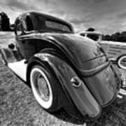 Red Hot Rod In Black And White Art Print
