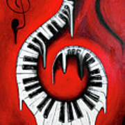 Red Hot - Swirling Piano Keys - Music In Motion Art Print