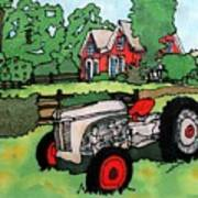 Red House And Tractor Art Print