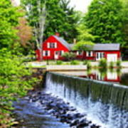 Red House By The Falls Art Print