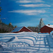 Red House In Winter Art Print