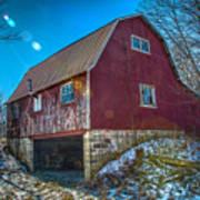 Red Indiana Barn Art Print