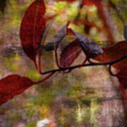 Red Leaves Painted Effect Art Print