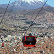 Red Line Cable Car Cabin And Mt Illimani Bolivia Art Print