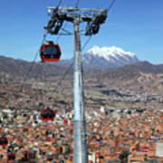 Red Line Cable Cars And Mt Illimani La Paz Bolivia Art Print
