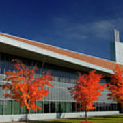 Red Maple Trees And Modern Architecture Of Seneca College York U Art Print