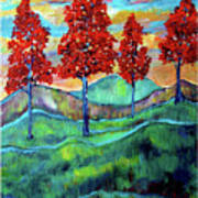 Red Maples On Green Hills With Name And Title Art Print