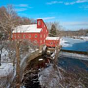 Red Mill In Winter Art Print