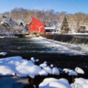 Red Mill In Winter Landscape Art Print by George Oze