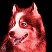 Red Modern Siberian Husky Dog Art - 6024 - Bb Art Print