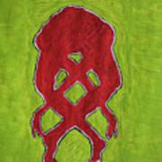 Nude Yoga Girl Red Art Print