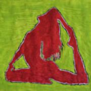 Red Nude Yoga Girl Art Print