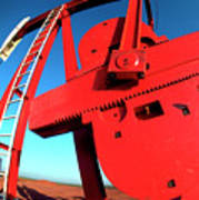 Red Oil Well Pump Oilfield Art Print